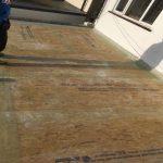 Sheets during fibreglass roof inastallation